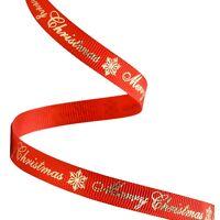 Ripsband Weihnachten 10mm - Merry Christmas Rot Gold