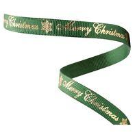 Ripsband Weihnachten 10mm - Merry Christmas Grün Gold