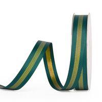 Metallic Ripsband 10mm - Streifen Tannengrün Gold (593)