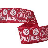 Band mit Drahtkante 38mm - Merry Christmas Juteband Rot