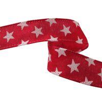 Band mit Drahtkante 25mm - Sterne Juteband Rot Weiß Glitzer