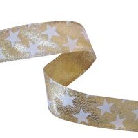 Band mit Drahtkante 25mm - Sterne Lurex Gold Weiß