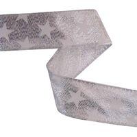 Band mit Drahtkante 25mm - Sterne Lurex Silber Weiß