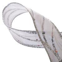Band mit Drahtkante 25mm - Wellen Lurex Weiß Silber Glitzer