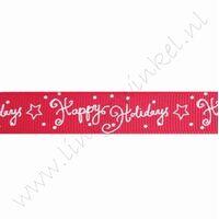 Ripsband Weihnachten 16mm (Rolle 22 Meter) - Happy Holidays Rot